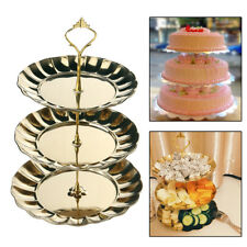 3 Tier Golden Metal Cake Stand Afternoon Tea Wedding Plates Party Tableware UK