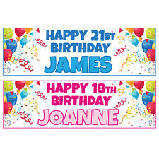 Buy 1 Get 1 Free Large Personalised Birthday Banners Balloons 900mm x 300mm