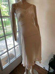 Vintage 1940s off white full petticoat lace slip - medium