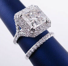 1.90 Ct Dual Halo Princess Cut Diamond Split Shank Bridal Ring Set D,VS1 GIA New