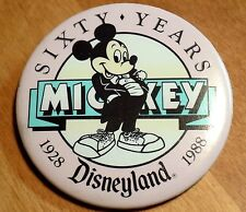 MICKEY MOUSE Sixty Year 1928 1988 Walt Disney Disneyland Collectible Pin Button