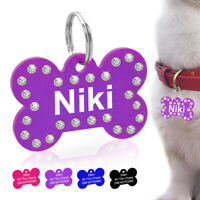 Rhinestone Diamond Personalized Pet Dog Tags Custom Name ID Engraved Bone Tags