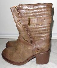 BOTTES Boots style motard détails matelassés marron effet marbré Taille 39