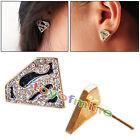 Mode cristal Boucles d'oreilles Superman S Triangle strass