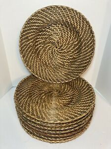 """SET OF 8 Brown Wicker Rattan Round Plates Chargers 13"""" Dining Serving Tableware"""
