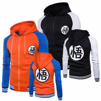 Men Hooded Dragon Ball Z Son Goku Anime Sweatshirt Jacket Sweater Casual Coats