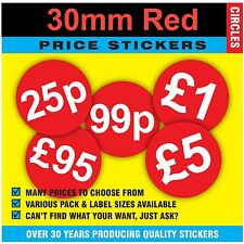 Quality 30mm Bright Red Price Point Stickers / Sticky Labels / Swing Tag Labels