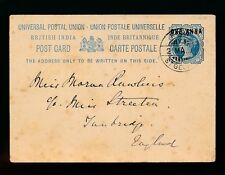 INDIA FORT ST GEORGE 1895 POSTMARK on QV STATIONERY CARD 1a on 1 1/2a