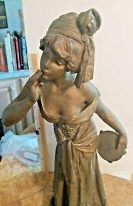 "Antique original Bronze sculpture c1900: Emmanual Villanis; ""Fleur de Bohème 23"""