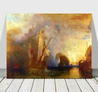 """WILLIAM TURNER - Mast Ship Rowing - CANVAS ART PRINT POSTER - Boat - 32x24"""""""
