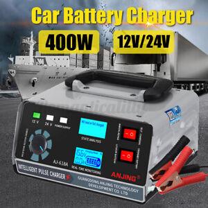 12V / 24V Auto Batterieladegerät KFZ Automatik Batterielader Ladegerät 400