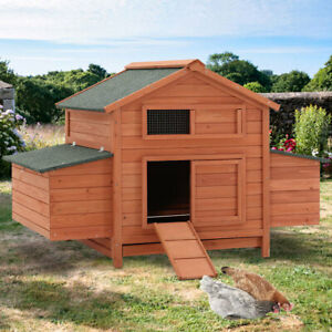 Extra Large Chicken Coop Hen Poultry Ark Outdoor House Rabbit Duck Hutch Nest