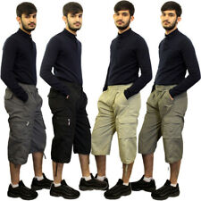 Mens Elasticated Waist Gym Cotton Cargo Combat 3/4 Long Knee Length Shorts Pants