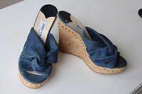 NEW Jimmy Choo Blue Denim Gold Studded Cork Wedge Sandals 5 5.5 38 39 -50% off