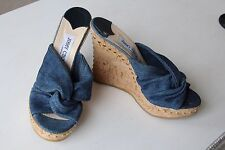 NEW Jimmy Choo Blue Denim Gold Studded Cork Wedge Sandals 5 5.5 38 39 -50% off
