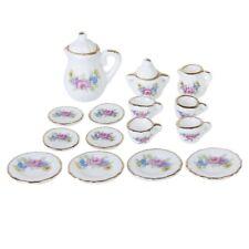 15 Piece Miniature Dollhouse Dinnerware Porcelain Tea Set Tableware Mug Plate FP
