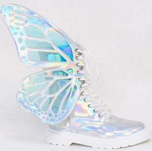Womens Shiny Leather Shoes Laser Butterfly Wings Lace up Combat Boots Fashion