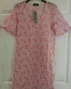Ladies lighter night dress nightie nightdress 100% cotton pink floral Size 8 NEW