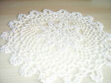 "Pretty Vintage Crochet Doily /Tabel Mat Shiny Cream 12"" Diameter"