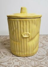 Vintage Yellow Dented Ceramic Garbage Can Trash Can COOKIE JAR Canister Unique