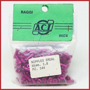 NOS ACI ERGAL NIPPLES 1.8 mm 144pc PINK VINTAGE 80s 90s MTB ROAD LIGHTWEIGHT