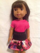 "Wellie Wishers Pink Top Black Satin skirt Outfit 14"" doll clothes American Girl"
