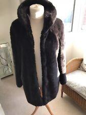 Wallis Plush Black Faux Fur Winter Coat - Size Uk M 12/14 - rrp £ 80