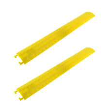 2PCS Cable Protective Cover Ramp Cord Wire Concealment Track 2000 lbs Yellow