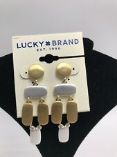 $29 Lucky Brand Two Tone Sculptural Statement Earrings e2