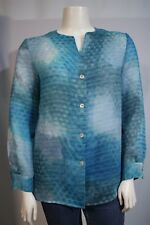 Kasper Misses 12 Sheer Blue Aqua Stripe LS Button Front Layering Blouse Shirt