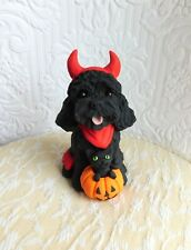 "Halloween Schnoodle, Labradoodle ""Lil' Devil"" Hand Sculpted by Raquel"