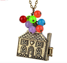 House with balloons Up Movie necklace antique bronze Anniversary gift from USA