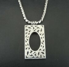 Lois Hill Necklace Sterling Silver 925 Pendant Toggle Clasp Chain Scroll Design
