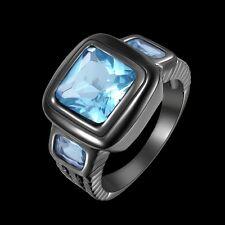 Size 8 Engagement Ring For Men New Fashion Aquamarine Black 18K Gold Filled Gift