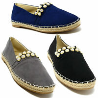 Women Faux Suede Studded Espadrille, Slip-on Loafers Flats Shoes * NEW *