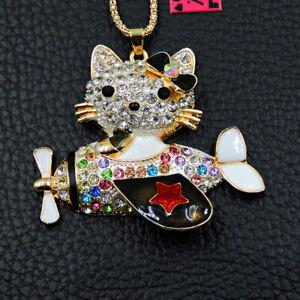 Betsey Johnson Colorful Enamel Rhinestone Airplane Cat Pendant Women's Necklace