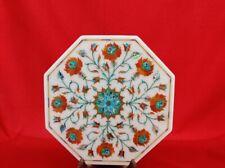 "18"" white marble Table Top coffee Semi Precious Stones Inlay Work decor"