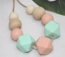 Silicone necklace (was teething) mum sensory jewellery mint wood nursing