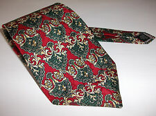 CHRISTIAN DIOR MONSIEUR 100% SILK TIE DEEP RED ROCOCO SHIELD PATTERN CRAVAT