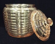 "Hocking Glass Pink ""Block Optic"" Biscuit/Cookie Jar/Honey Pot 7-1/2"""
