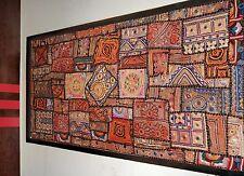 Antique Rare Kali Zari Tapestry Handmade Patchwork Vintage Wall Hanging Indian