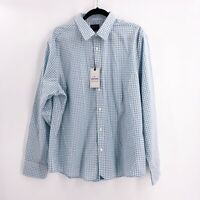 UntuckIT Men's Size XL Long Sleeve Button Roussillon Shirt Checked Blue Green