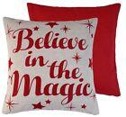 Believe dans la magique rouge crème tissé chenille Housse de coussin