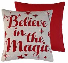 BELIEVE IN THE MAGIC RED CREAM WOVEN CHENILLE CUSHION COVER