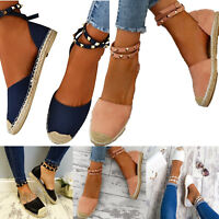 Womens Ankle Strap Buckle Rivet Espadrille Sandals Flat Heel Casual Work Shoes
