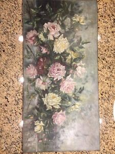 Antique Rose Oil Painting Huge