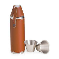 "FLASKS - ""BOND STREET"" STAINLESS STEEL & TAN LEATHER FLASK WITH TWO CUPS"