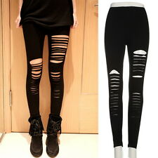Fashion Women Lady Punk Hole Ripped Slit Split Leggings Party Gothic Pants YL
