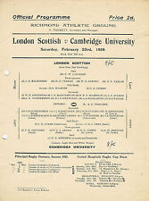 London Scottish vCambridge University 23 Feb 1929 RUGBY PROGRAMME