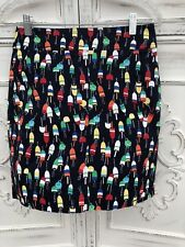 NWOT Size 2P TALBOTS Bright Mini Pencil Skirt Maine Lobster Buoys Red Yellow Fun